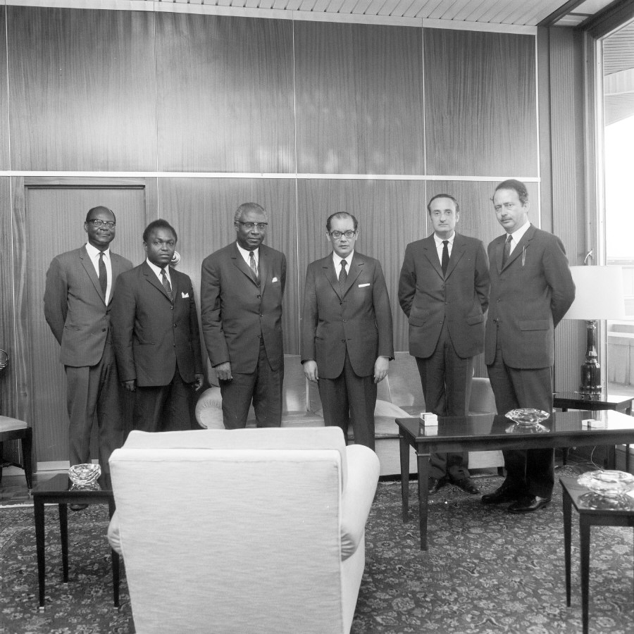 H.E. Ambassador Aimé Raymond N'Thepe, Head of the Mission of Cameroon to the EC, and Franco Maria Malfatti (4th and 3rd on the right). Date: 07/07/1970