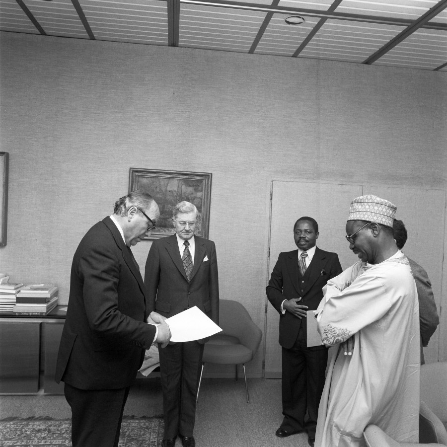 H.E. Ambassador Mahmoudou Haman Dicko, Head of the Mission of Cameroon to the EC, on the right, presenting his credentials to Roy Jenkins. Date: 24/07/1979